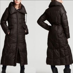 Cole Haan Black feather down puffer maxi coat.